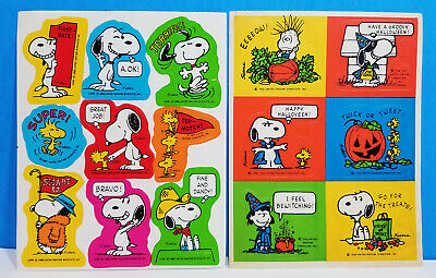 3 Sheets  Linus Woodstock Lucy Peanuts Adorable Reward Stickers SNOOPY