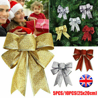 5Pcs Large Bow Christmas Door Tree Topper Decor Wreath  Party Present Xmas Decor