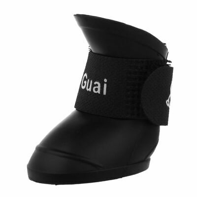 Black M, Pet Shoes Booties Rubber Dog Waterproof Rain Boots T4Z8