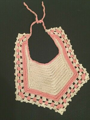 Vintage Hand Crocheted Baby Bib Pink and White Unusual Checkerboard