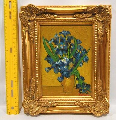 """VTG Oil Painting REPRO of """"Vase with Irises"""" by Van Gogh Gold Ornate Frame"""