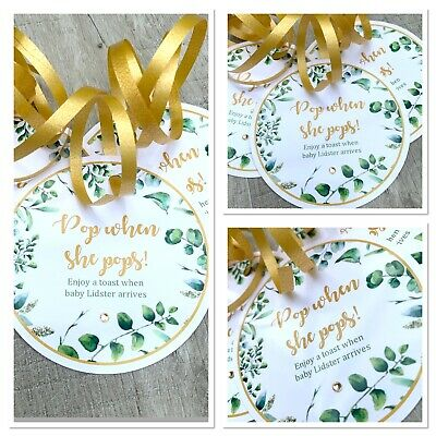 5 x Personalised Green Floral Baby Shower Round Tags Labels Pop When She Pops
