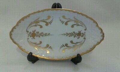 vintage white / gilt hand painted oval ceramic dish marked BB Made in France