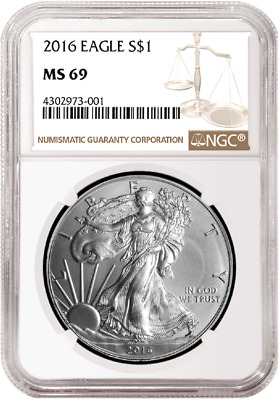 2016 1oz Silver American Eagle NGC MS69 Brown Label