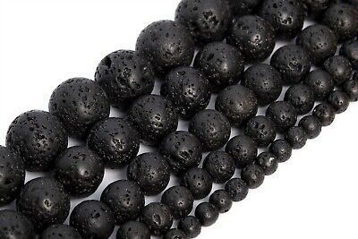 Natural Black Volcanic Lava Beads Grade AAA Round Loose Beads 6/8/10/16MM