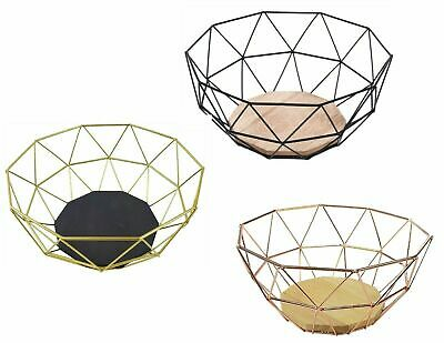 Vertex Fruit Basket Gold Finish Iron Wire Display Serving Bowl Shape Tableware