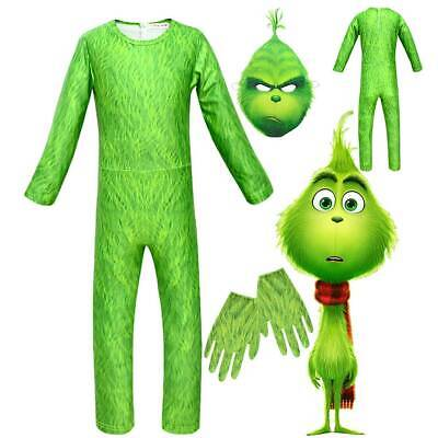 The Grinch Cosplay Costume Kids Boy Girl Christmas Party Halloween Outfits Sets