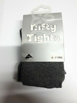 Children's Girls Cotton Lycra Rich School Nifty Tights Ages 6 - 7 Years Grey