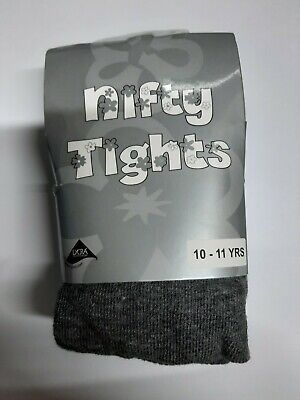 Children's Girls Cotton Lycra Rich School Nifty Tights Ages 10 - 11 Years Grey
