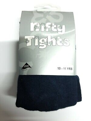 Children's Girls Cotton Lycra Rich School Nifty Tights Ages 10 - 11 Years Blue