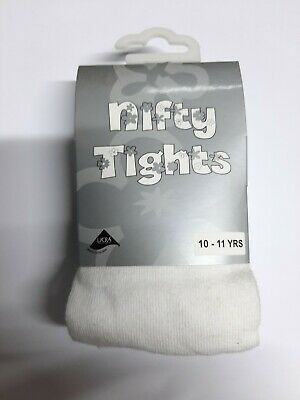 Children's Girls Cotton Lycra Rich School Nifty Tights Ages 10 - 11 Years White