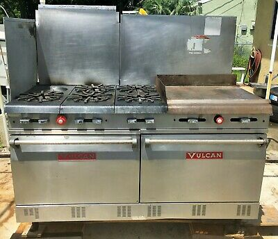 Vulcan stainless steel six burner stove/griddle/double oven