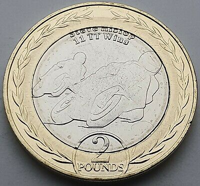 2019 Isle of Man Steve Hislop 11 TT Wins £2 coin - Circulated