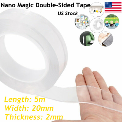 16.5ft Nano Magic Tape Double-Sided Traceless Washable Invisible Gel 20MM*2MM*5M