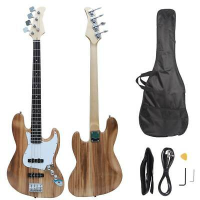 New Electric GJazz 4 Strings Bass Guitar + Cord + Wrench +Bag +Pick Woodcolor