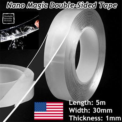 16.5ft Nano Magic Tape Double-Sided Traceless Washable Invisible Gel 30MM*1MM*5M
