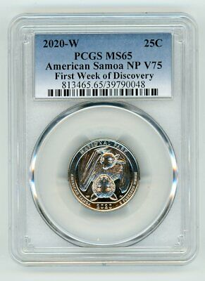 2020 W QUARTER 25C AMERICAN SAMOA NP V75  PCGS MS65 FIRST WEEK OF DISCOVERY 2222