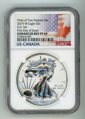 2019 W American Eagle S$1 Pride Of Two Nations Reverse Ngc Pf69 Fdi 5758418-005