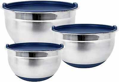 Premium Stainless Steel Mixing Bowls with Lids and Non-Slip Base (Set of 3)