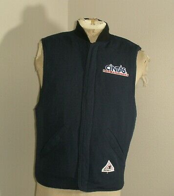 Men's BULWARK FR Fire Flame Resistant Navy Blue NOMEX Insulated Work Vest 2XL