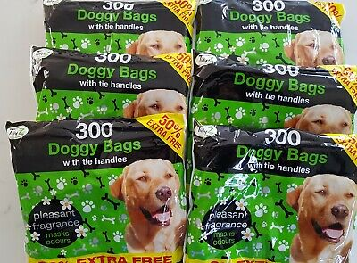 1800 Disposable Doggy Bags Scented Dog Poo Waste With Tie Handles