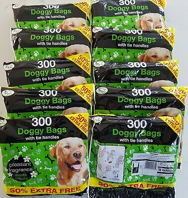 3000 Disposable Doggy Bags Scented Dog Poo Waste With Tie Handles