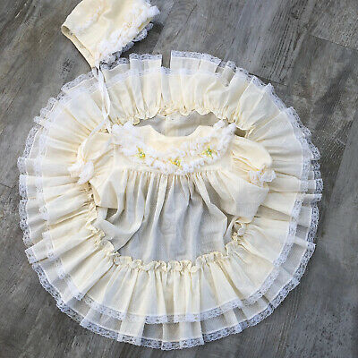 Vintage Bryan Baby Girl Yellow Full Circle Lace Ruffles Party Dress Bonnet 24 Mo