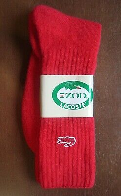 Vintage IZOD LACOSTE Alligator RED SOCKS Mens Size 10-13 NOS