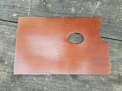 Vintage rectangular wooden artists palette shaped thumb hole on both sides 10""