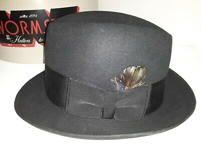 Vintage Wormser Fedora Hat With Original Box Size 7 Black