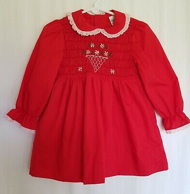 Vintage Polly Flinders Girls Hand Smocked Dress 3T Red Long Sleeve Christmas USA