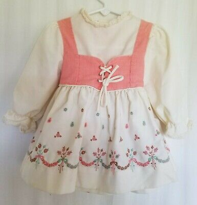 Vintage  Girls Dress 2T Cinderella Brand Red Long Sleeve  Tie back Corduroy USA