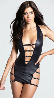 Womens Portia Faux Leather Strappy Chemise