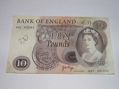Bank of England -  Old Large  £10 Ten pound note. Page. B90 692043