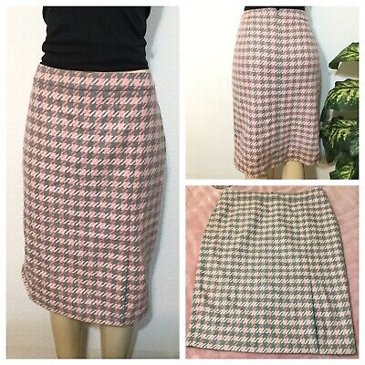 Talbots Pink/Gray Wool Blend Houndstooth Pencil Skirt Sz 14