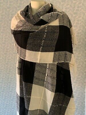 Eskandar Black and Cream PLAID Handwoven in Italy 100% Cashmere Shawl Wrap EUC