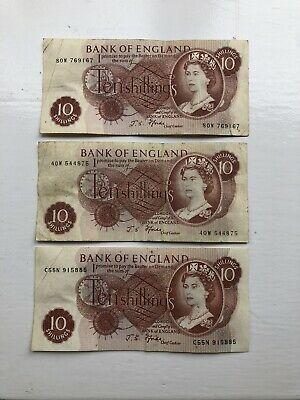 3 X Bank of England Old 10 Shilling Note
