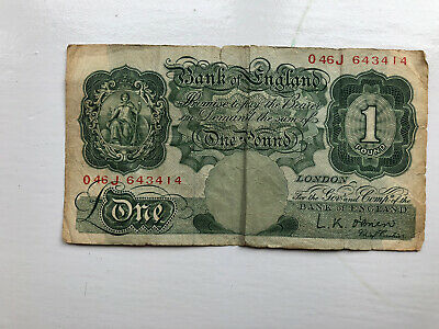 Old Bank Of England One Pound Note Nice Note.