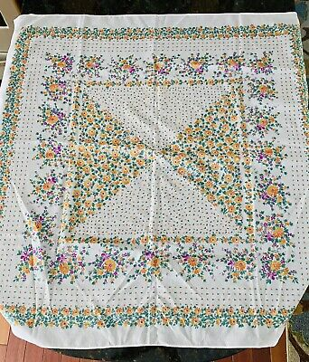 "Vintage Floral Scarf White Background 30""x30"" Square"