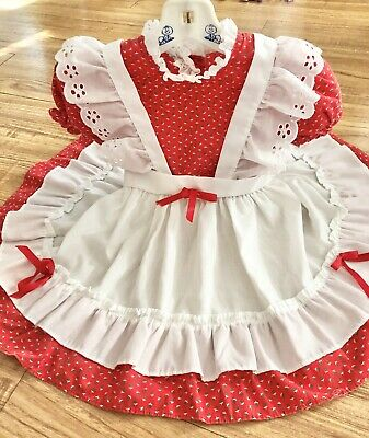 Vintage Baby Girl Toddler Holiday Party Dress Frilly Red Faux Pinafore 2T 3T