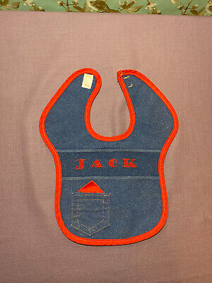 "Handmade Baby Bib *VINTAGE* Cross Stitch ""JACK"" Blue Jean Red Trim"