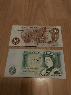 Old 10 Bob Note 10 Shillings And 1 Pound Bank Of England Queen Elizabeth