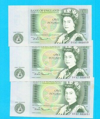 GB SOMERSET £1 ONE POUND NOTE B341 BANKNOTES  3 x CONSECUTIVE NOTES