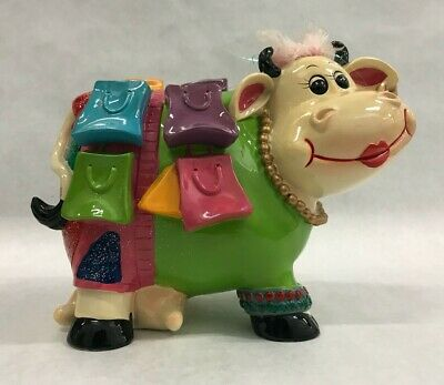 Traveling Lady Cow Coin Bank Plastic Crazy Cow Luggage Female