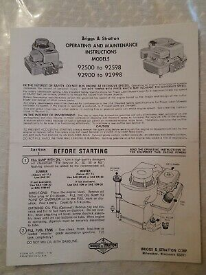 Vtg Briggs & Stratton Operating & Maintenance Instructions, Models 92500-92598++