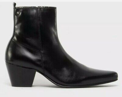 Full Leather Ankle Boots Cuban Heels Kensington Mens Pleated side Zip Size 6-12