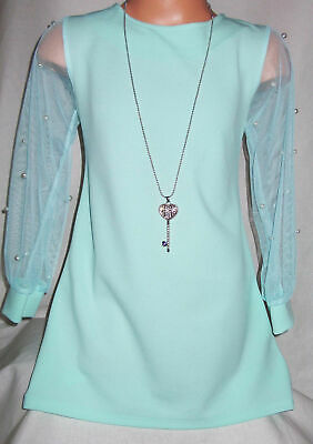 GIRLS MINT GRECIAN STYLE CHAIN TRIM CHIFFON SPECIAL OCCASION PARTY DRESS age 2-3