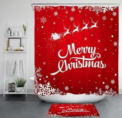 Merry Christmas Pink Gift Case Snowflakes Waterproof Fabric Shower Curtain Set