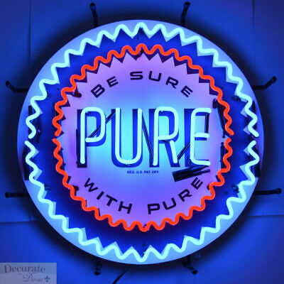 "PURE GAS GASOLINE NEON SIGN 24"" Wall Window Shelf Metal Grid USA Warranty New"