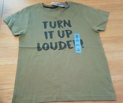 boys khaki colour top 'turn it up louder' age 7-8 tshirt bnwt from primark